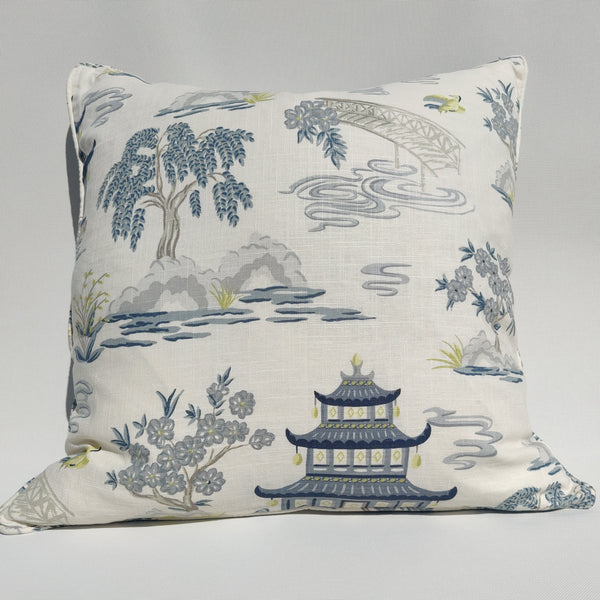Designer Fabric by TREND & JACLYN SMITH- Linen Cushion 55cm Square Feather Filled - Chinoiserie Imperial Garden