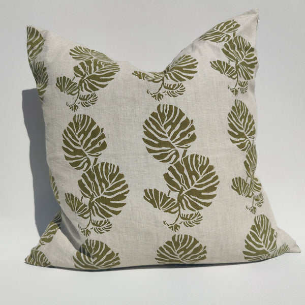 RESTOCK SOON - Enchanted Forest - Monstera Artisan Block Printed Heavy Weight Pure French Linen Cushion 50cm Square Feather Filled