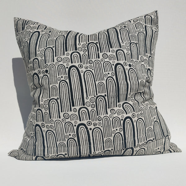 RESTOCK SOON - Enchanted Forest - Spirit Rock Artisan Block Printed Heavy Weight Pure French Linen Cushion 50cm Square Feather Filled