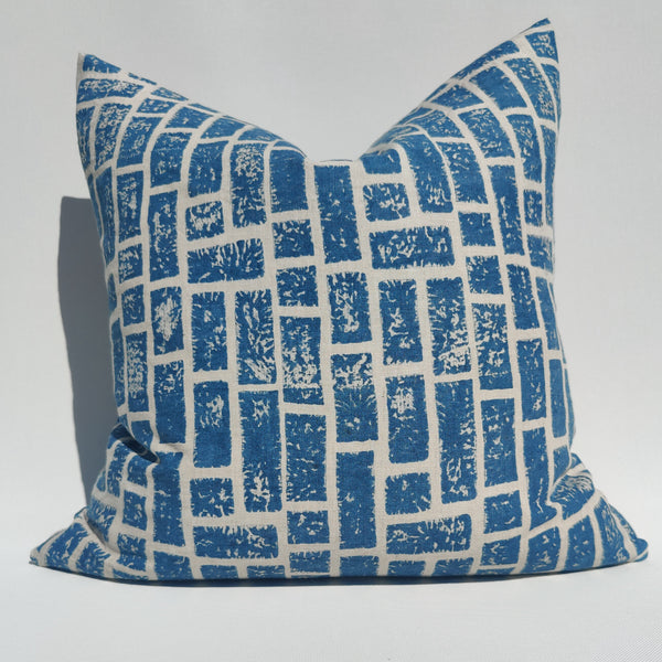 Enchanted Forest - Relic Wall Artisan Block Printed Heavy Weight Pure French Linen Cushion 50cm Square Feather Filled - Blue