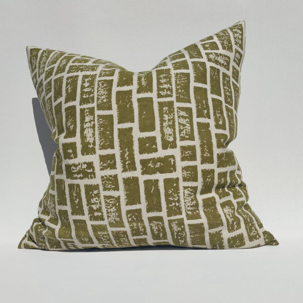Enchanted Forest - Relic Wall Artisan Block Printed Heavy Weight Pure French Linen Cushion 50cm Square Feather Filled - Green