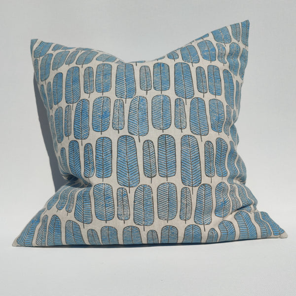 RESTOCK SOON - Enchanted Forest - Finch Feather Artisan Block Printed Heavy Weight Pure French Linen Cushion 50cm Square Feather Filled - Blue