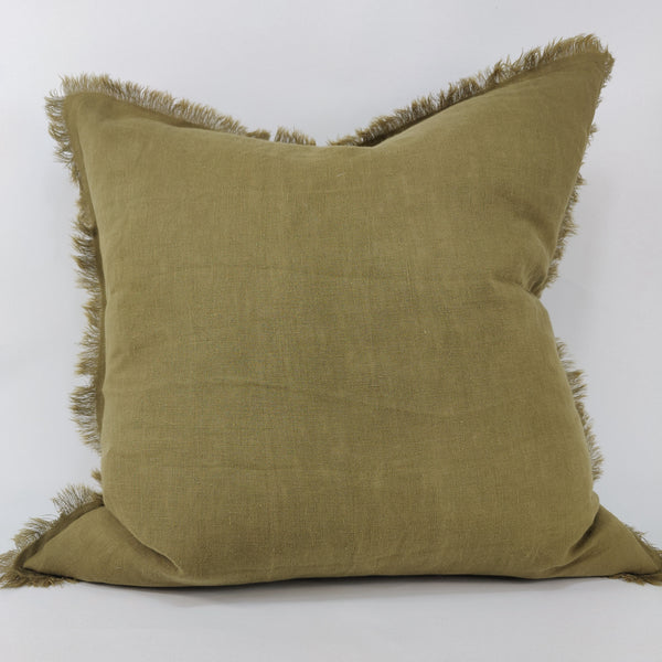 Hazelhurst 100% Pure French Linen Fringed Edge Cushion Square Feather Filled 50cm- Avocado Green