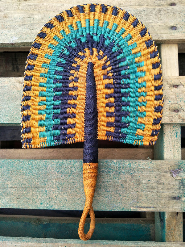 Afro-Chic Bolga Elephant Grass Straw Fan from Ghana