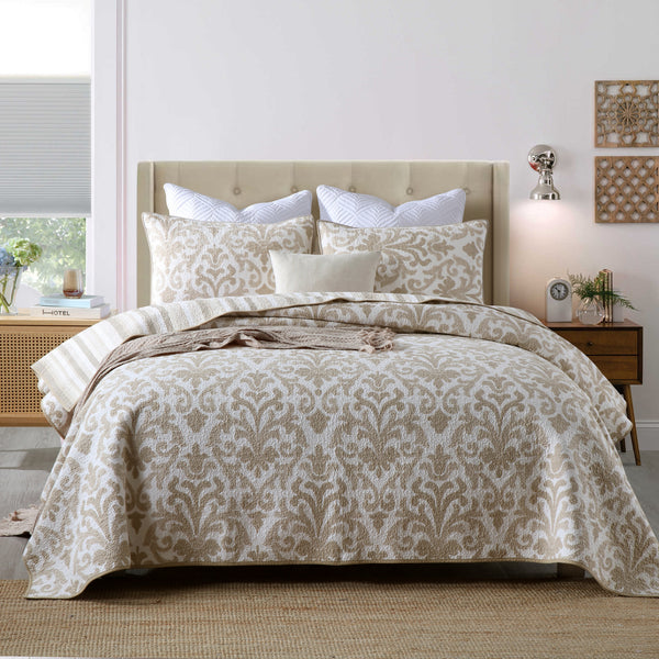 Kinsley 100% Cotton Coverlet Bedspread Bedcover Set - Queen Size