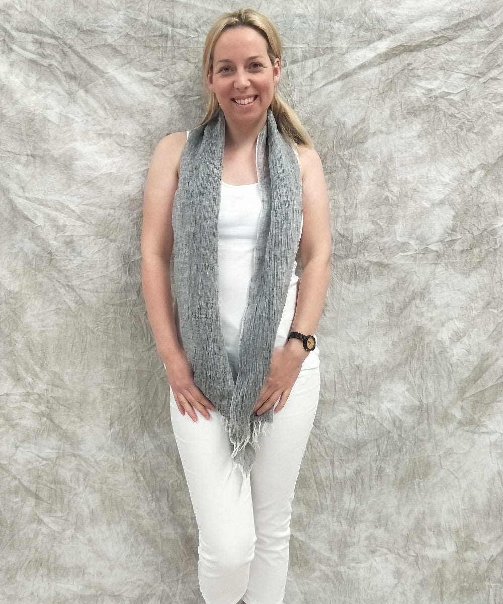 Grey French Linen Scarf