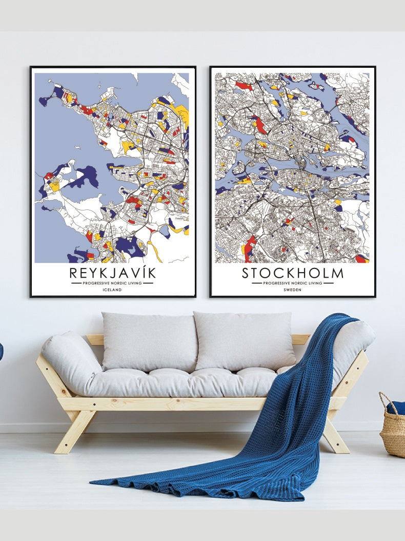 Progressive Nordic Living Map inspired by Art of Piet Mondrian Fine Print - Stockholm