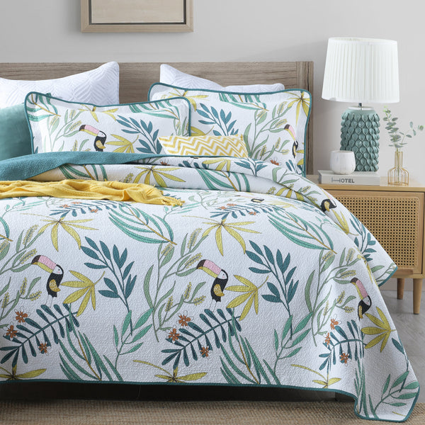 Macaw 100% Cotton Coverlet Bedspread Bedcover Set - Queen Size