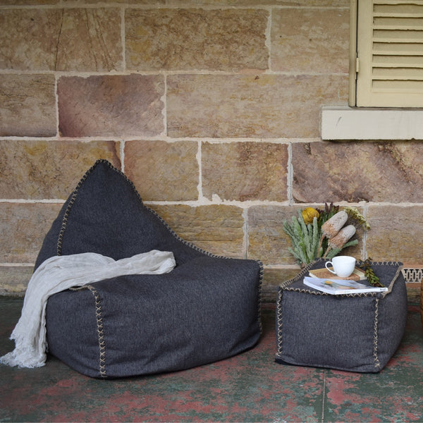 Charcoal Nordic Linen Bean Bag Set