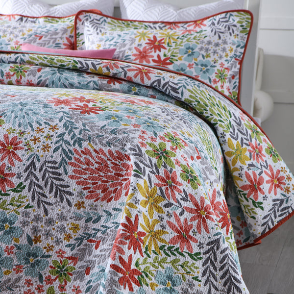 Pippa 100% Cotton Coverlet Bedspread Bedcover Set - Queen Size