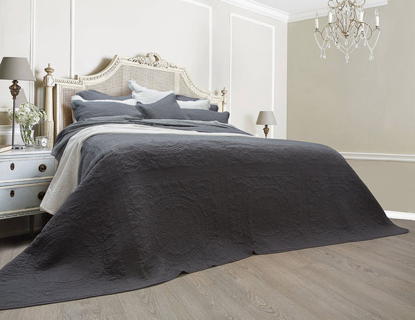 Louis Charcoal 100% Cotton Coverlet Bedspread Set