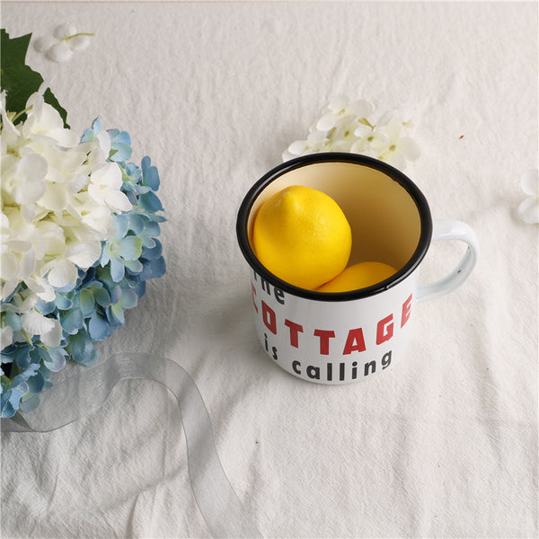 Enamel Cup Boutique Collection- The Cottage is Calling