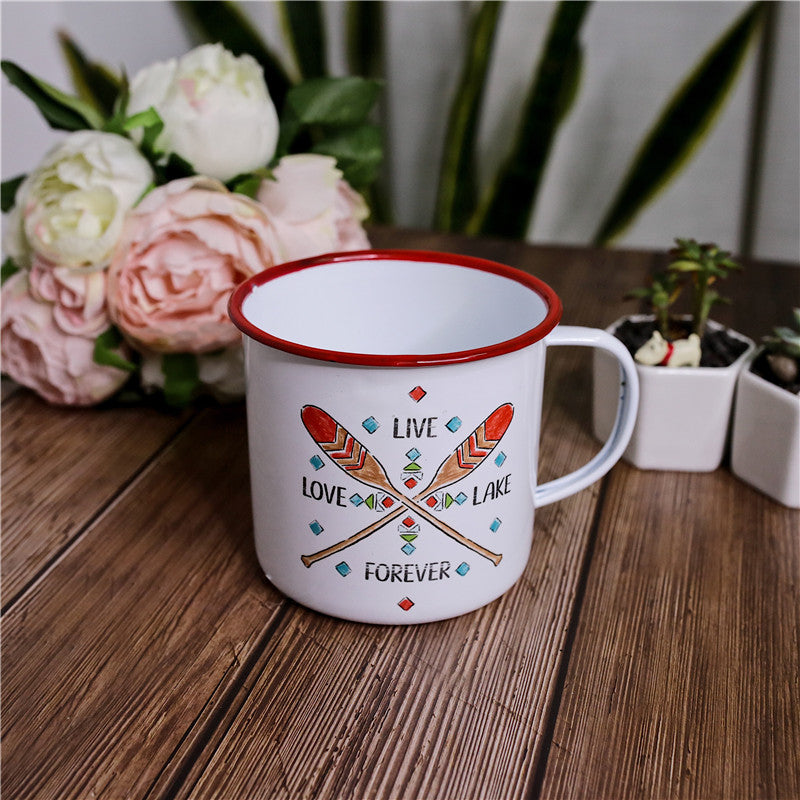 Enamel Cup Boutique Collection- Love Lake Live Forever