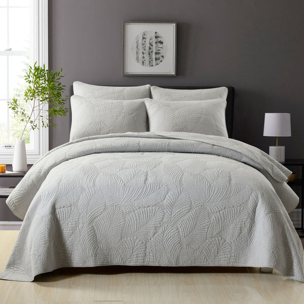Nadia 100% Cotton Coverlet Bedspread Bedcover Set - Light Grey