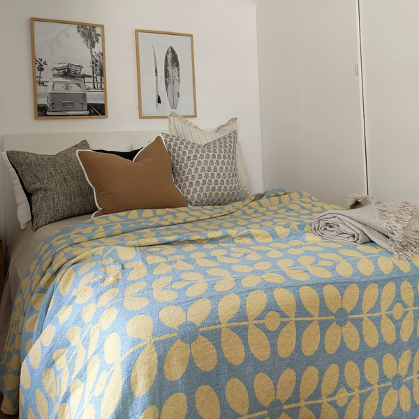 Botanical 100% Muslin Cotton Bedcover Double to Queen - Yellow & Blue
