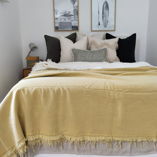 Faith Heavy Weight 100% Pure French Linen Bed Cover with Fringe Edge- Mustard