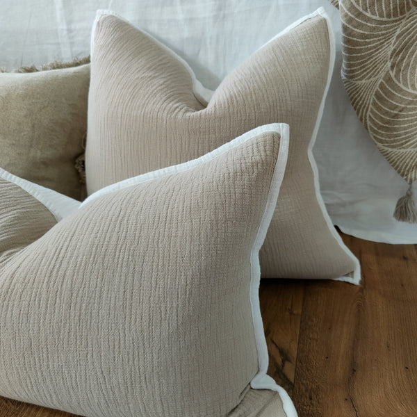 Palermo Gauze Cotton Linen Cushion Feather Filled -Nude