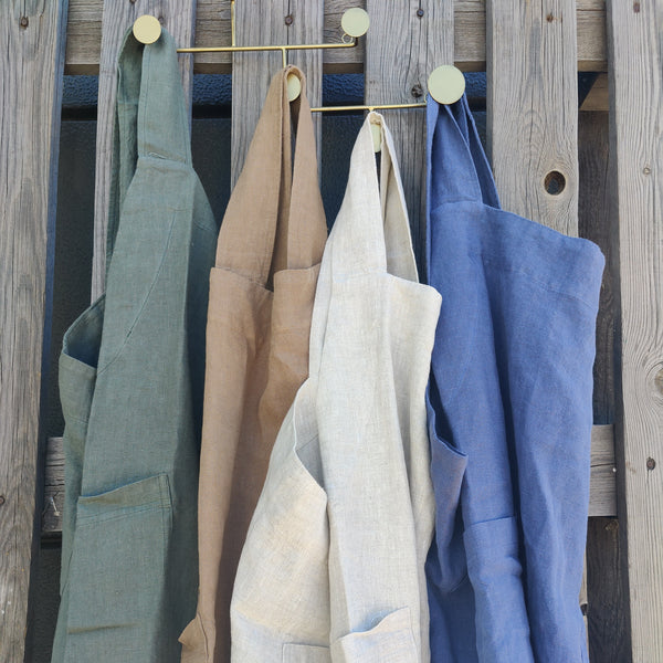 PRE-ORDER - PREFECT GIFT FOR MOTHER'S DAY - Artisan Stonewashed Heavy Weight Pure French Linen Pinafore Cross Back - 4 Colors