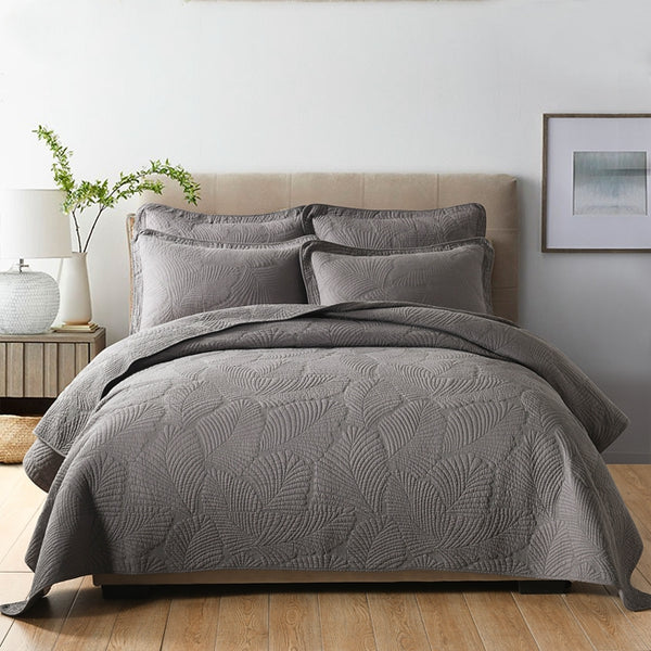 Palm Leaf 100% Cotton Coverlet Bedspread Bedcover Set - Charcoal