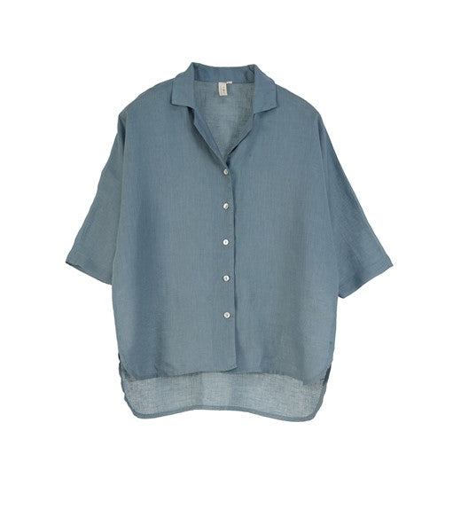 Poppy European Linen Short Sleeve Shirt- Lead Blue