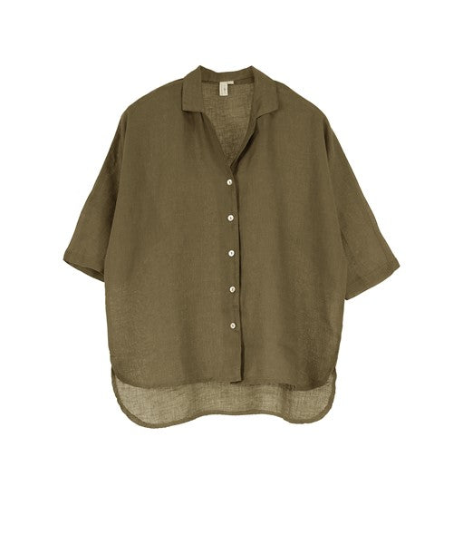 Poppy European Linen Short Sleeve Shirt- Khaki