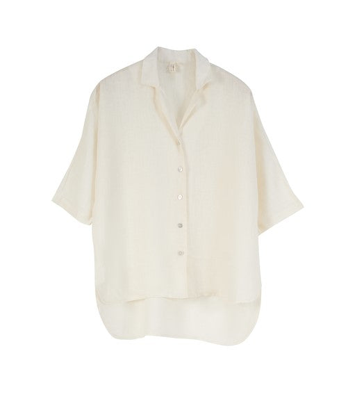 Poppy European Linen Short Sleeve Shirt- Off White