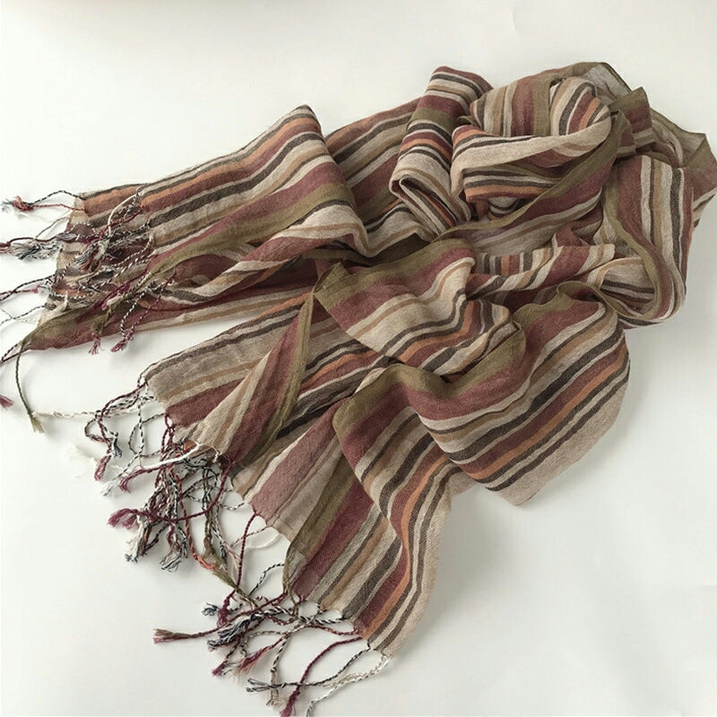 Pure French Linen Hand-woven Long Scarves - Multiple Stripe
