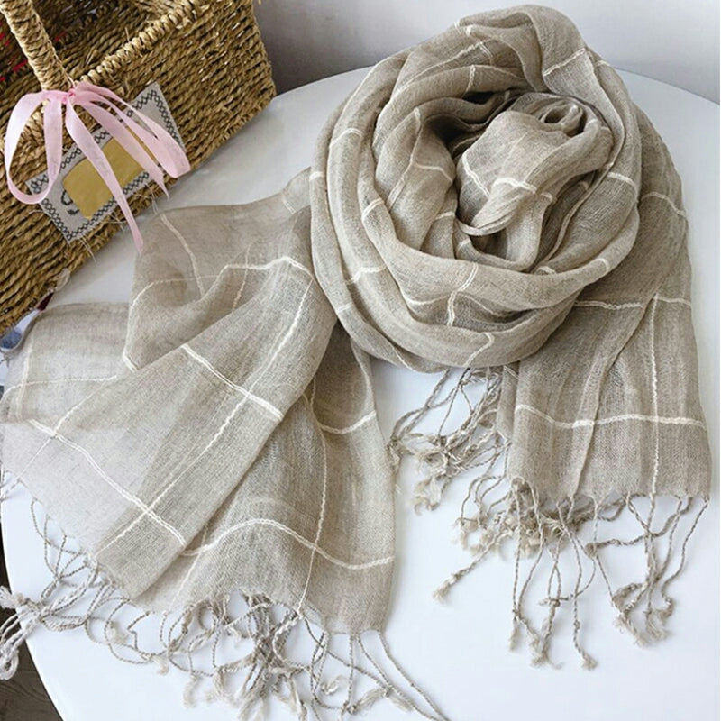 Pure French Linen Hand-woven Long Scarves - Natural White Check