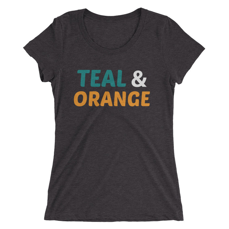 Ladies' Teal & Orange True Tri-Blend T-shirt