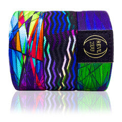 Revl Zuu - elastic reversible band abstract art design with chevron pattern multi colored strap