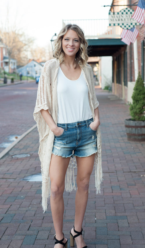 Wentz Crochet Fringe Cardigan Outerwear - IV Collection