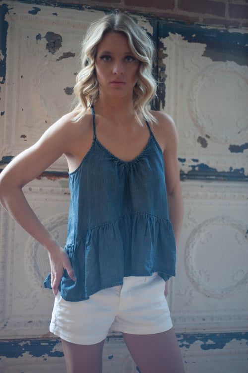 Portland Denim Ruffle Tank Tops - IV Collection