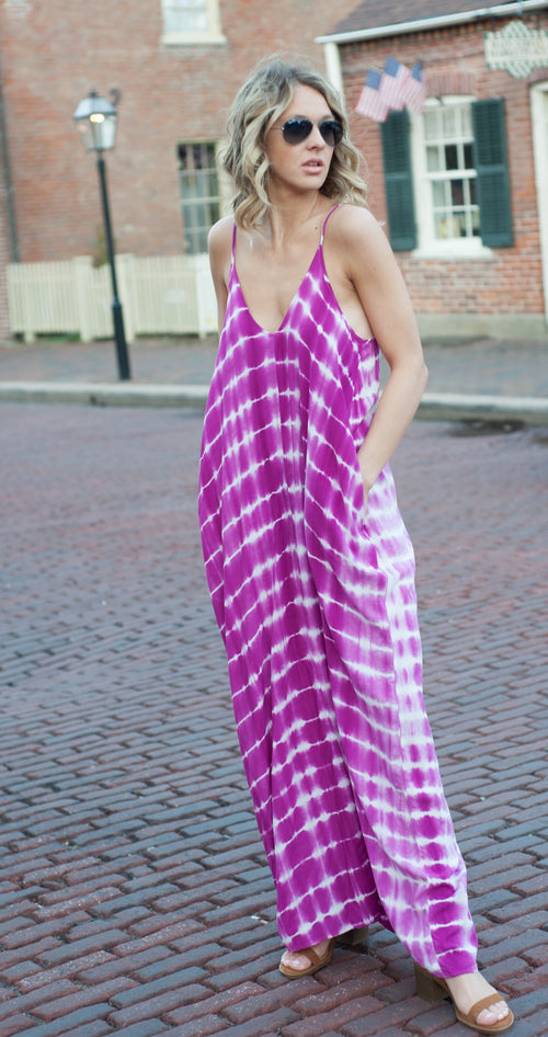 Jenny Fuchsia Tie Dye Cocoon Dress Dresses - IV Collection