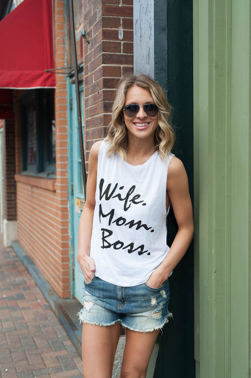 Wife. Mom. Boss. Scoop Tank Tops - IV Collection