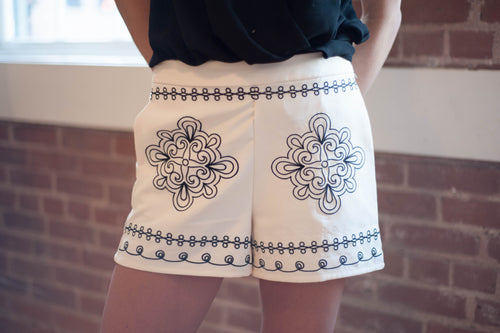 Evory Embroidered Shorts (Ivory) Bottoms - IV Collection