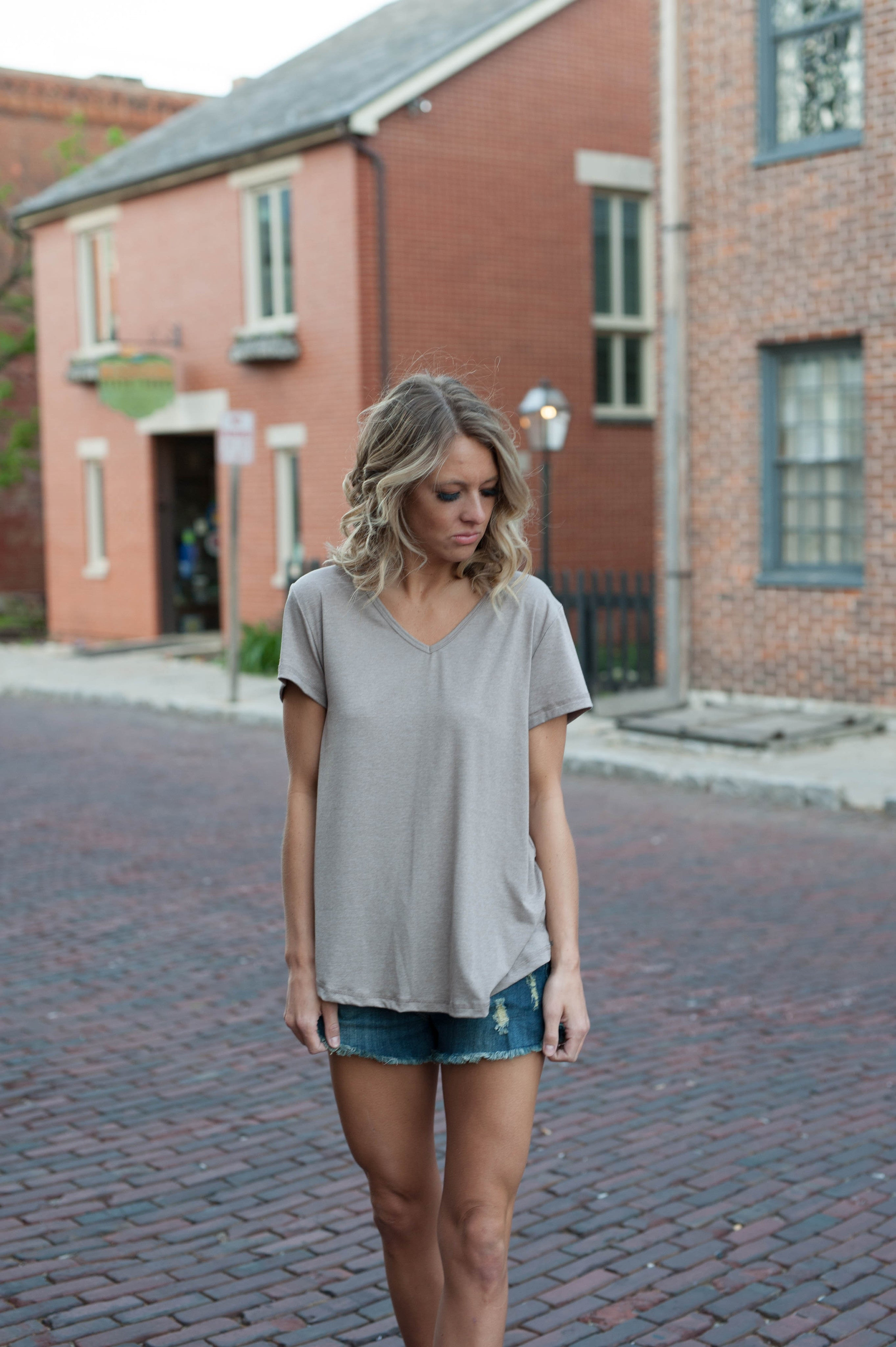 Basic Crisscross Top (Oatmeal) Tops - IV Collection