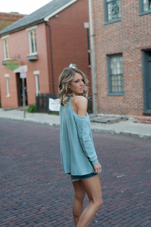 Chasity Cold Shoulder Sweater Tops - IV Collection