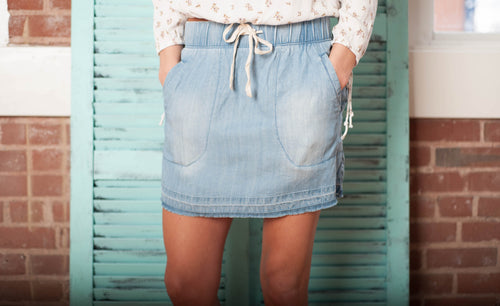 Heritage Tencil Denim Skirt Bottoms - IV Collection