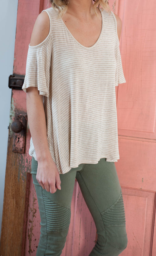 Khaki Cold Shoulder Top Tops - IV Collection