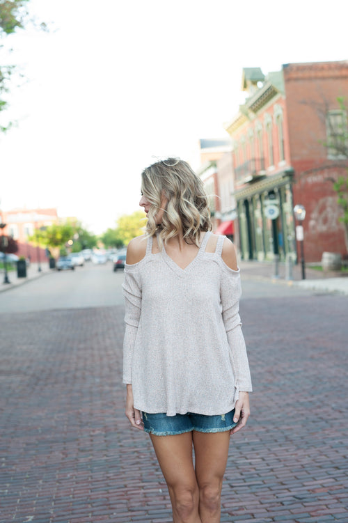 Quinn Double Cold Shoulder Strap Sweater Tops - IV Collection
