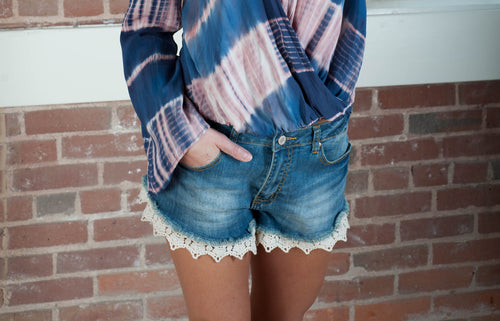 Christina Lace Denim Shorts  - IV Collection