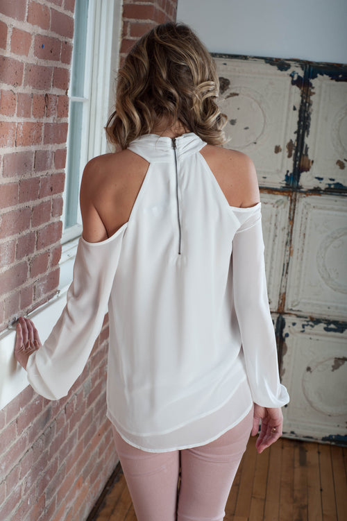 Danika Twist Blouse (White) Tops - IV Collection
