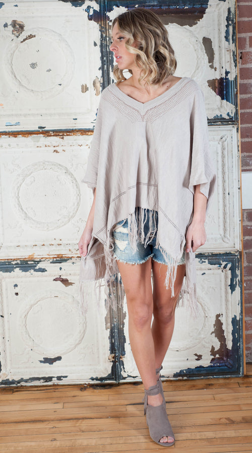 Becca Bohemian Fringe Poncho Outerwear - IV Collection