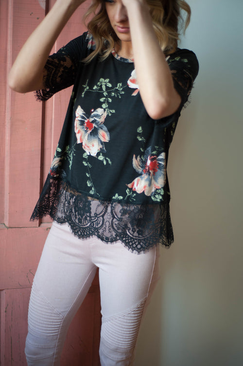 Tacoma Floral Lace Top Tops - IV Collection