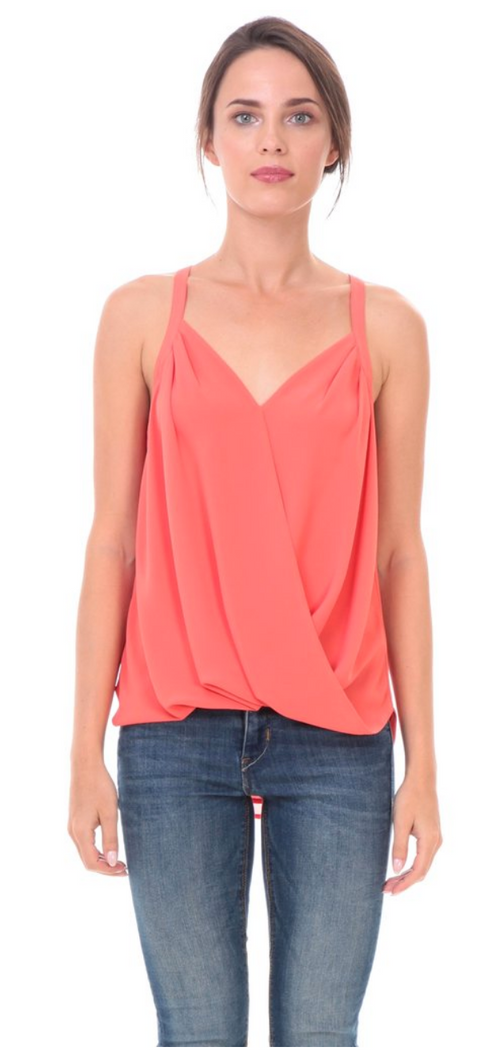Lorelei Criss Cross Blouse (Coral) Tops - IV Collection