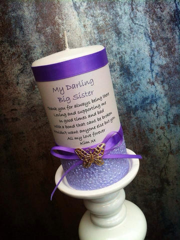 Embellished Poem Personalised Candles