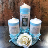 Godparent Set of 3 Baptism / Christening Personalised Candles (15cm)