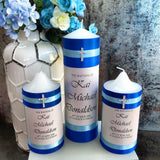 Godparent Set of 5 Baptism / Christening Personalised Candles (15cm)