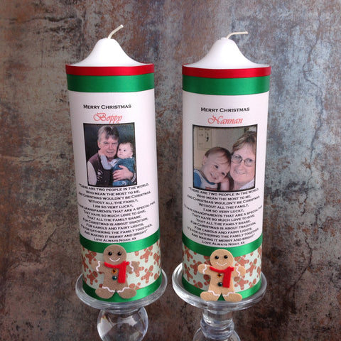 Christmas Personalised Embellished Candles 7.5 x 22.5cms