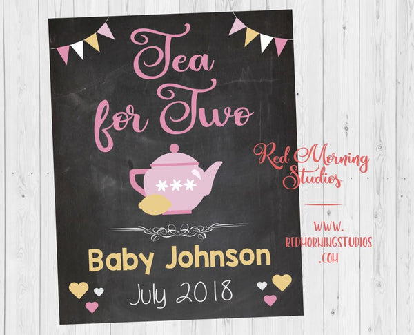 Tea Party Pregnancy Announcement Sign. PRINTABLE Two for Tea pregnancy reveal sign. social media image. new baby. big sister announcement